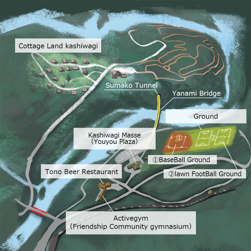 The entire map illustration of Kashiwagidaira Lake Resort