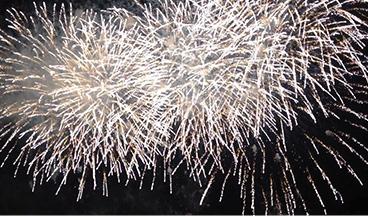 遠野納涼花火大会で打ち上げられる花火の写真